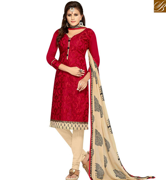 STYLISH BAZAAR GRAND RED AND CREAM COLOR CHANDERI EMBROIDERED STRAIGHT SUIT WITH PRINTED CREAM DUPATTA MNJ42600