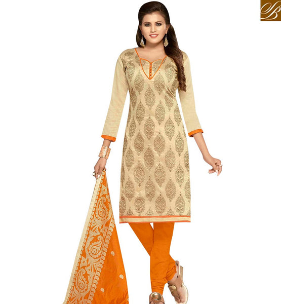 STYLISH BAZAAR ELEGANT CREAM AND YELLOW CHANDERI EMBROIDERED STRAIGHT SUIT WITH EMBROIDERED DUPATTA MNJ42601