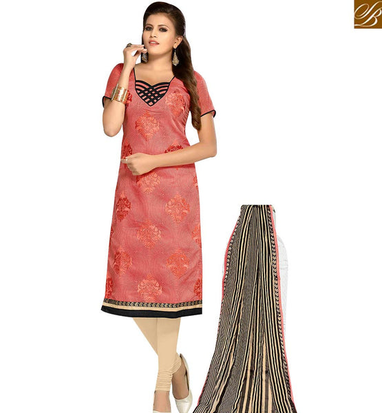 STYLISH BAZAAR BEAUTIFUL PINK AND CREAM COLOR CHANDERI EMBROIDERED STRAIGHT SUIT WITH PRINTED DUPATTA MNJ42602