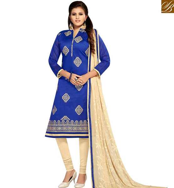 STYLISH BAZAAR IRRESISTIBLE BLUE AND CREAM COLOR CHANDERI EMBROIDERED STRAIGHT SUIT WITH EMBROIDERED CREAM DUPATTA MNJ42603