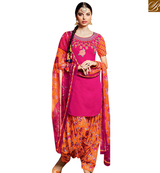FROM STYLISH BAZAAR PLEASING PINK COTTON SATIN DESIGNER PATIALA SALWAR KAMEEZ HAVING MULTI COLOR BOTTOM MNJ42907