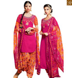 STYLISH BAZAAR PLEASING PINK COTTON SATIN DESIGNER PATIALA SALWAR KAMEEZ HAVING MULTI COLOR BOTTOM MNJ42907