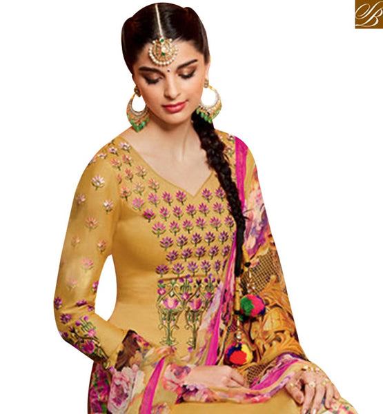 BEAUTIFUL MUSTARD COTTON SATIN PATIALA SALWAR KAMEEZ WITH MULTI COLOR BOTTOM & DUPATTA MNJ42908