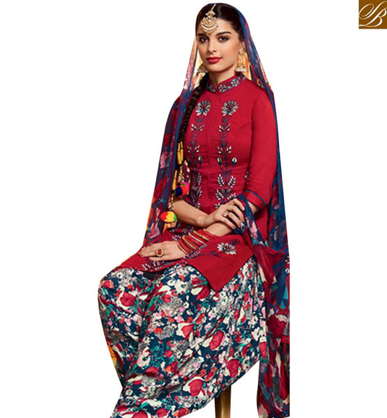 ATTRACTIVE RED COTTON SATIN PRINTED PATIALA SALWAR KAMEEZ WITH MULTI COLOR MNJ42909