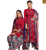 STYLISH BAZAAR ATTRACTIVE RED COTTON SATIN PRINTED PATIALA SALWAR KAMEEZ WITH MULTI COLOR MNJ42909