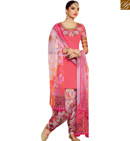 FROM THE HOUSE OF STYLISH BAZAAR LOVELY PINK DESIGNER PATIALA SALWAR KAMEEZ WITH MULTI COLOR PRINTED BOTTOM & DUPATTA MNJ42910