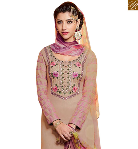 DELIGHTFUL BEIGE DESIGNER PATIALA SALWAR KAMEEZ HAVING FULL SLEEVES & MULTI COLOR BOTTOM MNJ42913