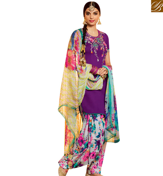 FROM STYLISH BAZAAR WONDERFUL PURPLE COTTON SILK DESIGNER PATIALA SALWAR KAMEEZ WITH MODERN STYLE MNJ42914