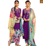 STYLISH BAZAAR WONDERFUL PURPLE COTTON SILK DESIGNER PATIALA SALWAR KAMEEZ WITH MODERN STYLE MNJ42914
