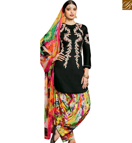 STYLISH BAZAAR PRESENTS DAZZLING BLACK EMBROIDERED PATIALA SALWAR KAMEEZ WITH PRINTED BOTTOM & DUPATTA MNJ42915