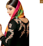 DAZZLING BLACK EMBROIDERED PATIALA SALWAR KAMEEZ WITH PRINTED BOTTOM & DUPATTA MNJ42915