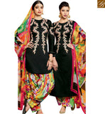 STYLISH BAZAAR DAZZLING BLACK EMBROIDERED PATIALA SALWAR KAMEEZ WITH PRINTED BOTTOM & DUPATTA MNJ42915