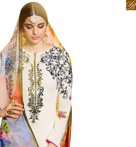 CAPTIVATING OFF WHITE COTTON SATIN HAVING BLACK THREAD WORK ON THE TOP WITH MULTI COLOR BOTTOM MNJ42916