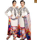 STYLISH BAZAAR CAPTIVATING OFF WHITE COTTON SATIN HAVING BLACK THREAD WORK ON THE TOP WITH MULTI COLOR BOTTOM MNJ42916
