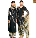 STYLISH BAZAAR MAGNIFICENT BLACK COTTON SATIN DESIGNER PATIALA SALWAR KAMEEZ WITH PRINTED BOTTOM MNJ42917