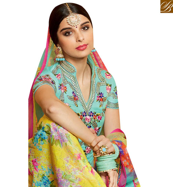 INVITING SEA GREEN DESIGNER PATIALA SALWAR KAMEEZ HAVING BEST WORK ON THE CHEST AREA MNJ42919