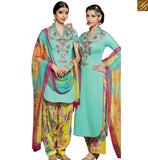 STYLISH BAZAAR INVITING SEA GREEN DESIGNER PATIALA SALWAR KAMEEZ HAVING BEST WORK ON THE CHEST AREA MNJ42919