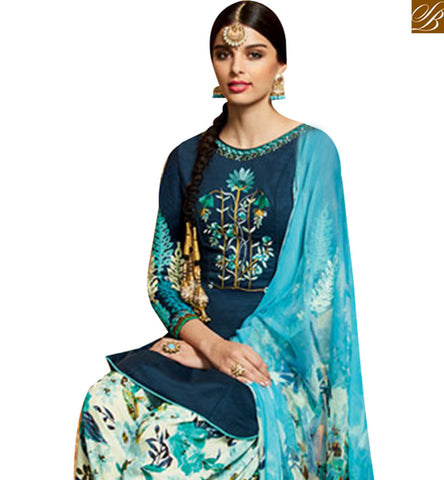 FROM STYLISH BAZAAR SUPERB BLUE COTTON SATIN PATIALA SALWAR KAMEEZ WITH MULTI COLOR DUPATTA & BOTTOM MNJ42920