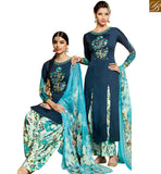 STYLISH BAZAAR SUPERB BLUE COTTON SATIN PATIALA SALWAR KAMEEZ WITH MULTI COLOR DUPATTA & BOTTOM MNJ42920