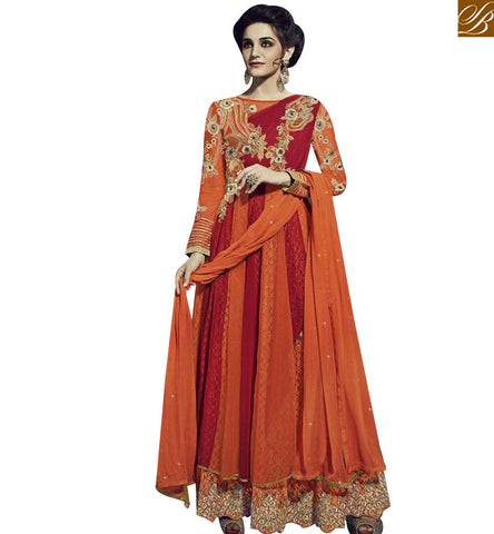 RED AND ORANGE NET GEORGETTE DESIGNER PARTY WEAR ANARKALI SALWAR KAMEEZ FNAD12031