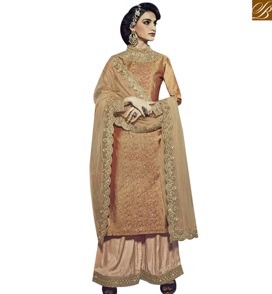 STYLISH BAZAAR APPRECIATING BEIGE GEORGETTE STRAIGHT CUT SALWAR KAMEEEZ WITH PLAZZO STYLE FNAD12032