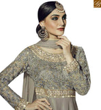 BROUGHT TO YOU BY STYLISH BAZAAR BUY ONLINE GREY GEORGETTE ANARKALI SALWAR KAMEEZ WITH PARTY WEAR GOWN STYLE FNAD12033