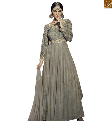 STYLISH BAZAAR BUY ONLINE GREY GEORGETTE ANARKALI SALWAR KAMEEZ WITH PARTY WEAR GOWN STYLE FNAD12033