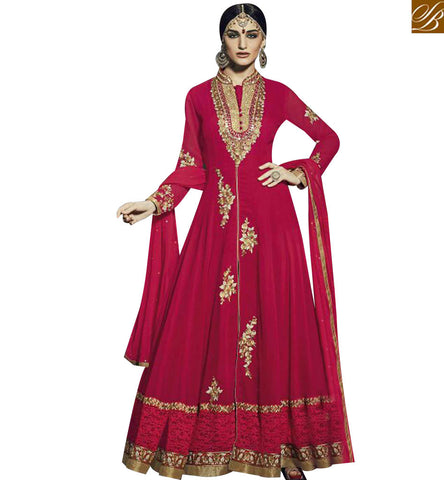 STYLISH BAZAAR BEAUTIFUL RED BEMBER HEAVY EMBEDDED ANARKALI SALWAR KAMEEZ WITH LACE BORDER WORK FNAD12034