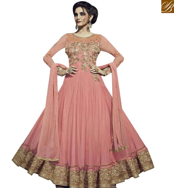STYLISH BAZAAR ELEGANT PEACH GEORGETTE NET DISPLAYING ANARKALI SALWAR KAMEEZ WITH EMBROIDERED FNAD12036