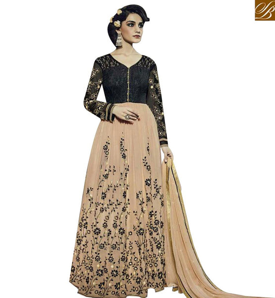 STYLISH BAZAAR MAGNIFICENT BLACK AND BEIGE DESIGNER ANARKALI SALWAR KAMEEZ HAVING GOWN STYLE FNAD12039