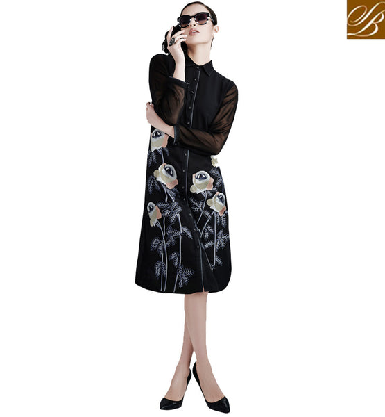 SHOP STYLISH BAZAAR DESIGNER KURTIS AND TOPS VDETC42FULL SLEEVES SHIRT STYLE BUTTON PARTY BLACK GEORGETTE KURTI WITH FLORAL WORK EMBROIDERY AND SANTOON INNER