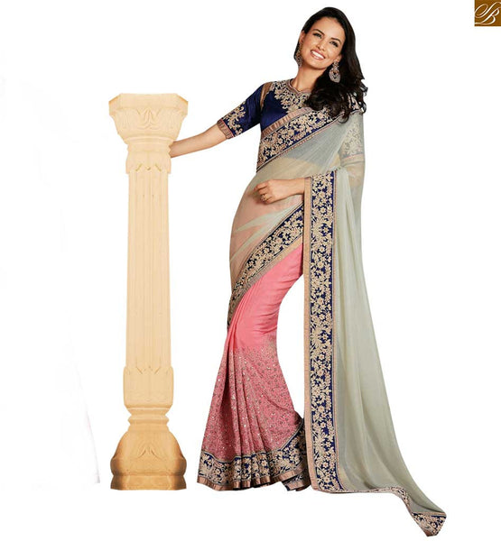 STYLISH BAZAAR ATTRACTIVE WHITE AND PEACH DESIGNER SAREE WITH A BLUE BLOUSE ANOB43