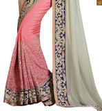 FROM THE HOUSE OF STYLISH BAZAAR ATTRACTIVE WHITE AND PEACH DESIGNER SAREE WITH A BLUE BLOUSE ANOB43