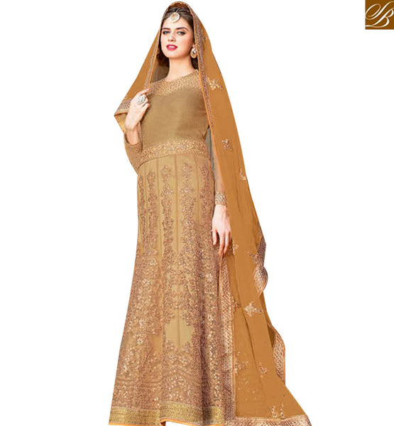 STYLISH BAZAAR BEAUTIFUL BEIGE NET HEAVY EMBROIDERED ANARKALI SALWAR KAMEEZ HAVING BEIGE LACE BORDER DUPATTA BLFS1441