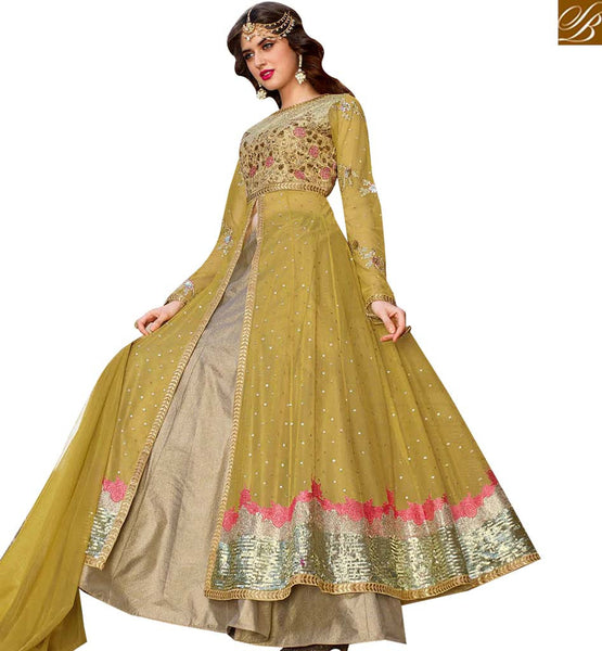 STYLISH BAZAAR GRACEFUL MEHENDI NET DESIGNER ANARKALI SALWAR KAMEEZ WITH LEHENGA STYLE BLFS1442