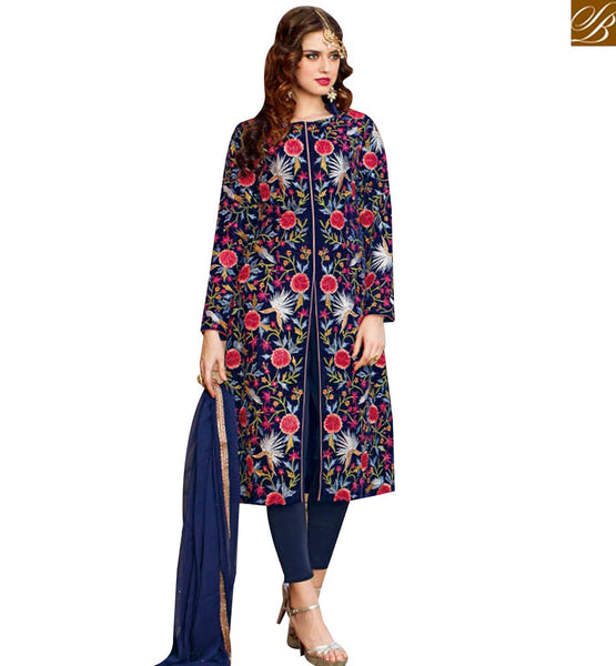 STYLISH BAZAAR PLEASING NAVY BLUE VISCOSE DESIGNER SUIT HAVING FLORAL PRINT WITH STRAIGHT CUT STYLE BLFS1443