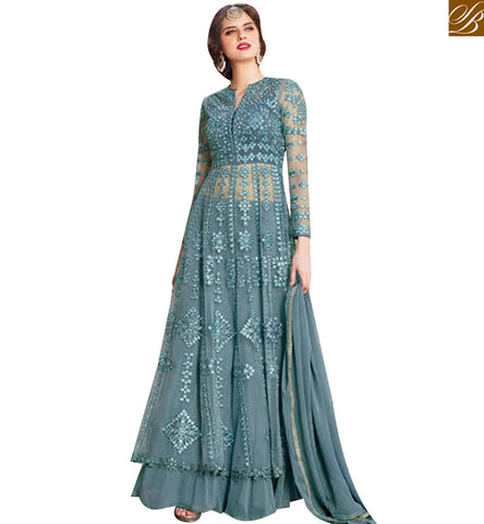 STYLISH BAZAAR MAGNIFICENT GREY NET HEAVY EMBROIDERED ANARKALI SALWAR KAMEEZ WITH LEHENGA STYLE BLFS1445
