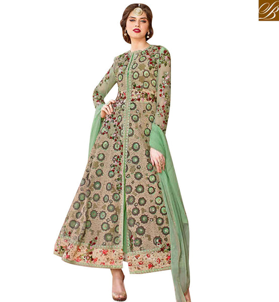STYLISH BAZAAR SUPERB GREEN NET HEAVY EMBROIDERED ANARKALI SALWAR KAMEEZ WITH SLIT CUT STYLE BLFS1446