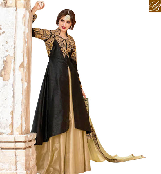 STYLISH BAZAAR INVITING BLACK SILK DESIGNER ANARKALI SALWAR KAMEEZ WITH BEIGE LEHENGA STYLE BLFS1447