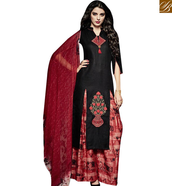 STYLISH BAZAAR LOVELY BLACK LINEN DESIGNER SALWAR KAMEEZ HAVING MAROON PLAZZO BOTTOM MNJ43022