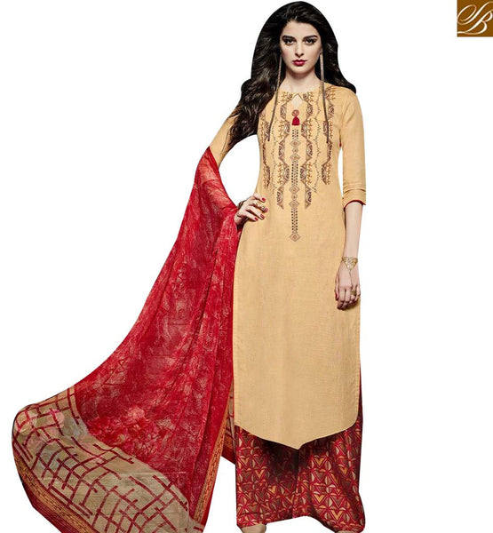 STYLISH BAZAAR BEAUTIFUL CREAM LINEN STRAIGHT CUT SALWAR KAMEEZ KEEP RED PLAZZO STYLE BOTTOM MNJ43023