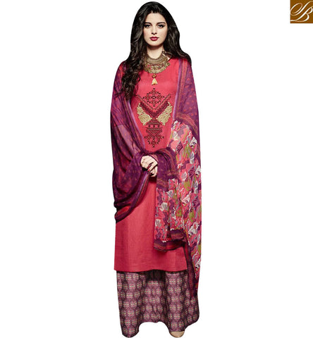 STYLISH BAZAAR MAGNIFICENT PINK LINEN STRAIGHT CUT SALWAR KAMEEZ WITH MULTI COLOR PLAZZO BOTTOM MNJ43024