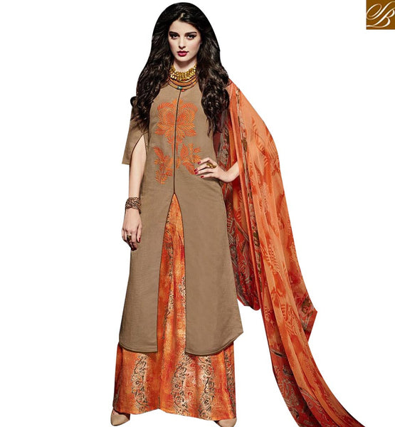 STYLISH BAZAAR DAZZLING BEIGE LINEN STRAIGHT CUT HAVING ORANGE PLAZZO STYLE DESIGNER SUIT MNJ43025