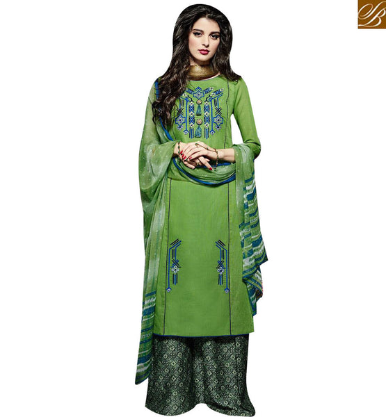 STYLISH BAZAAR ELEGANT GREEN LINEN STRAIGHT CUT SALWAR KAMEEZ KEEP PRINTED PLAZZO BOTTOM MNJ43026