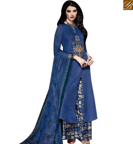 STYLISH BAZAAR DELIGHTFUL BLUE LINEN STRAIGHT CUT SALWAR KAMEEZ WITH PRINTED PLAZZO & DUPATTA MNJ43027