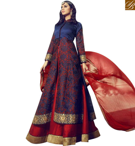 STYLISH BAZAAR PLEASING BLUE SILK HEAVY EMBROIDERED ANARKALI SALWAR KAMEEZ WITH LEHENGA STYLE MNJ29001