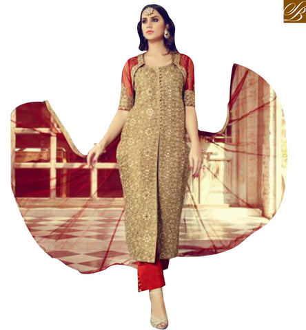 STYLISH BAZAAR BEAUTIFUL BEIGE SILK STRAIGHT CUT DESIGNER SALWAR KAMEEZ WITH RED TROUSER MNJ29002