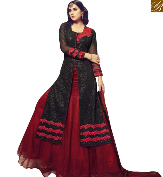 STYLISH BAZAAR BLACK SATIN DESIGNER SUIT HAVING FLOWER EMBROIDERY WORK ON TOP WITH MAROON NET LEHENGA MNJ29003