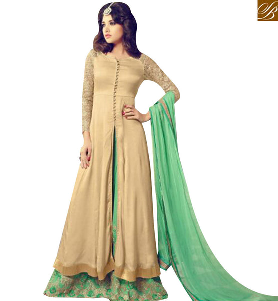 STYLISH BAZAAR LOVELY BEIGE GEORGETTE DESIGNER SALWAR KAMEEZ HAVING EMBROIDERED NET SLEEVES WITH PLAZZO STYLE MNJ29005