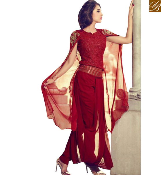 STYLISH BAZAAR INVITING MAROON GEORGETTE DESIGNER SUIT HAVING GLAMOROUS LOOK OF THE DESIGN MNJ29006